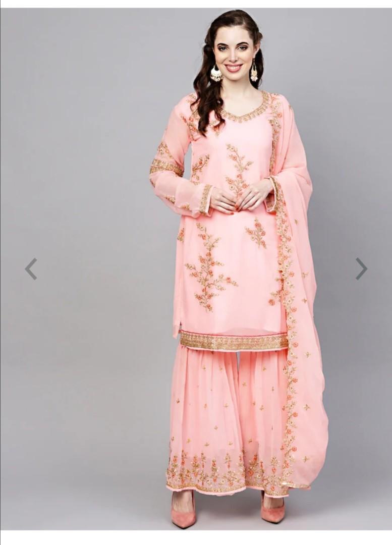 Chhabra 555 Women Pink & Golden Embellished Made to Measure Kurta & Sharara with Dupatta, Product Code: 9780829