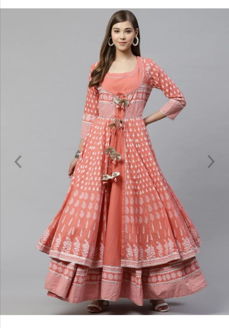 Divena Women Peach-Coloured Gotta Patti Printed Cotton Anarkali With Long Ethnic Jacket, Product Code: 11919308