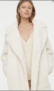 H&M Teddy Coat in Cream - XS