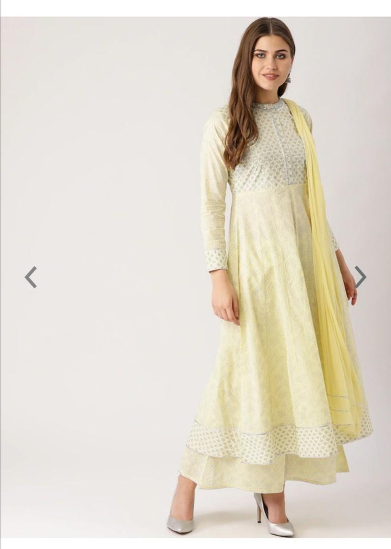 Libas Women Yellow & White Printed Kurta with Palazzos & Dupatta, Product Code: 7319923