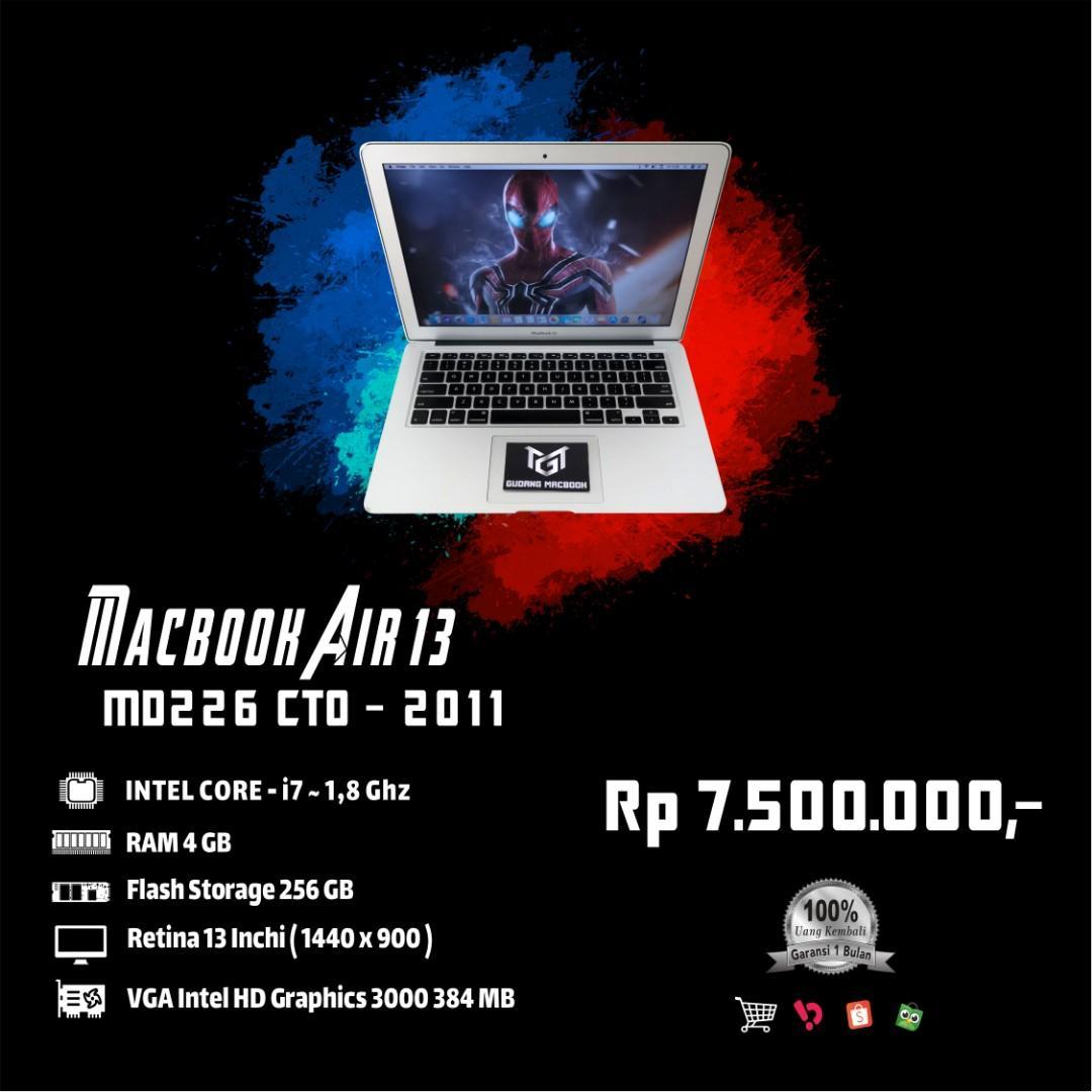 Macbook Air 13 MD226 CTO MID 2011 Core i7 Ram 4 GB SSD 256 GB Murah