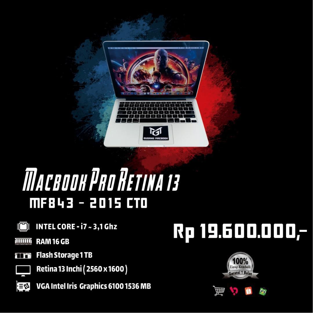 Macbook Pro Retina 13 MF843 Early 2015 Core i7 Ram 16 GB SSD 1 TB Like New