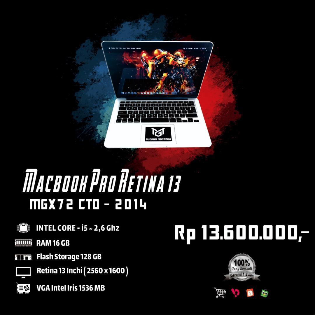 Macbook Pro Retina 13 MGX72 CTO MID 2014 Core i5 Ram 16 GB SSD 128 GB Mulus