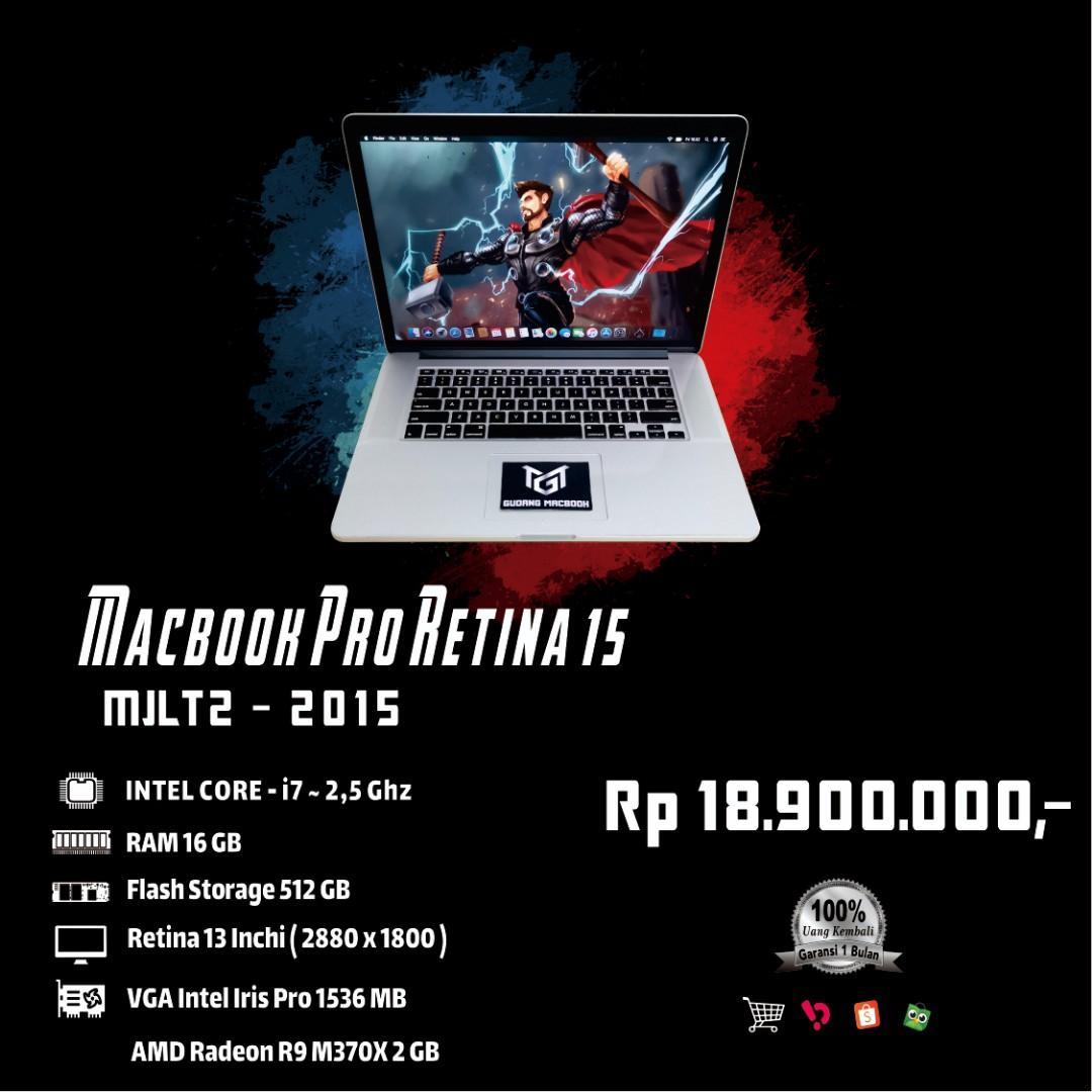 Macbook Pro Retina 15 MJLT2 MID 2015 Core i7 Ram 16 GB SSD 512 GB Ati Radeon 2 GB Mulus