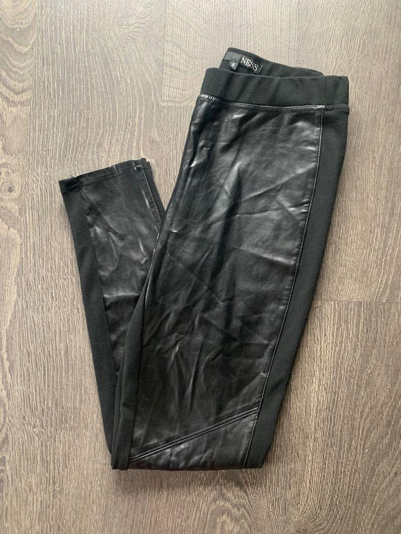 Ness Faux Leather And Knit Leggings Size Small / Medium