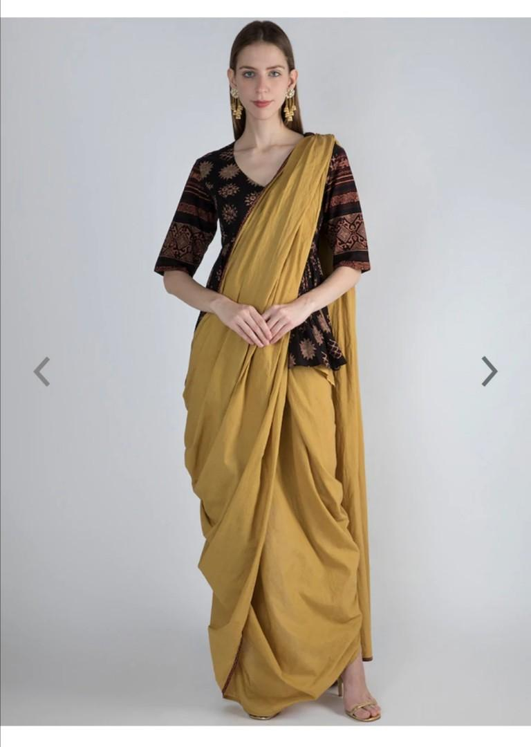 Pernia's Pop-Up Shop Pernia Pop-Up by Sougat Paul Shop Yellow Solid Pure Cotton Saree, Product Code: 11105892
