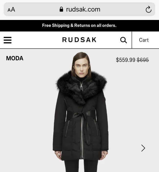 Rudsak Down Jacket with Fur Trim - all black