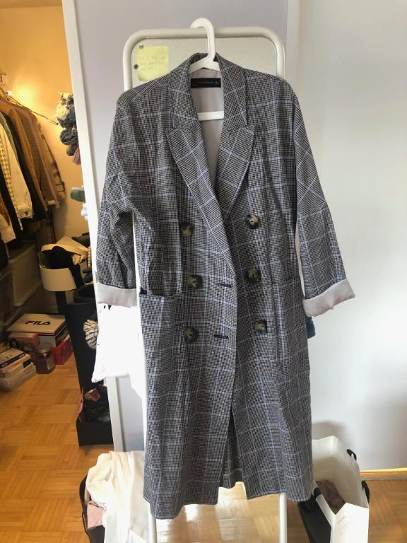 Zara Long Check Trench Coat