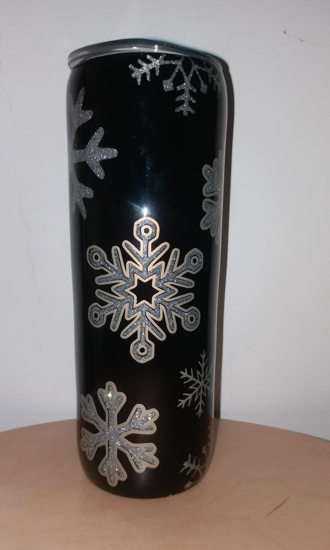 20oz Customized Glitter Tumbler( Black Winter)