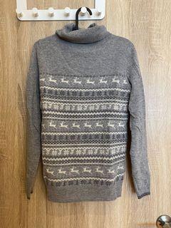 聖誕風麋鹿高領羊毛毛衣
