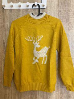 麋鹿薑黃色微高領厚磅毛衣