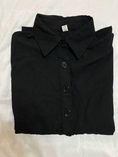 法式黑魚尾花袖長洋裝