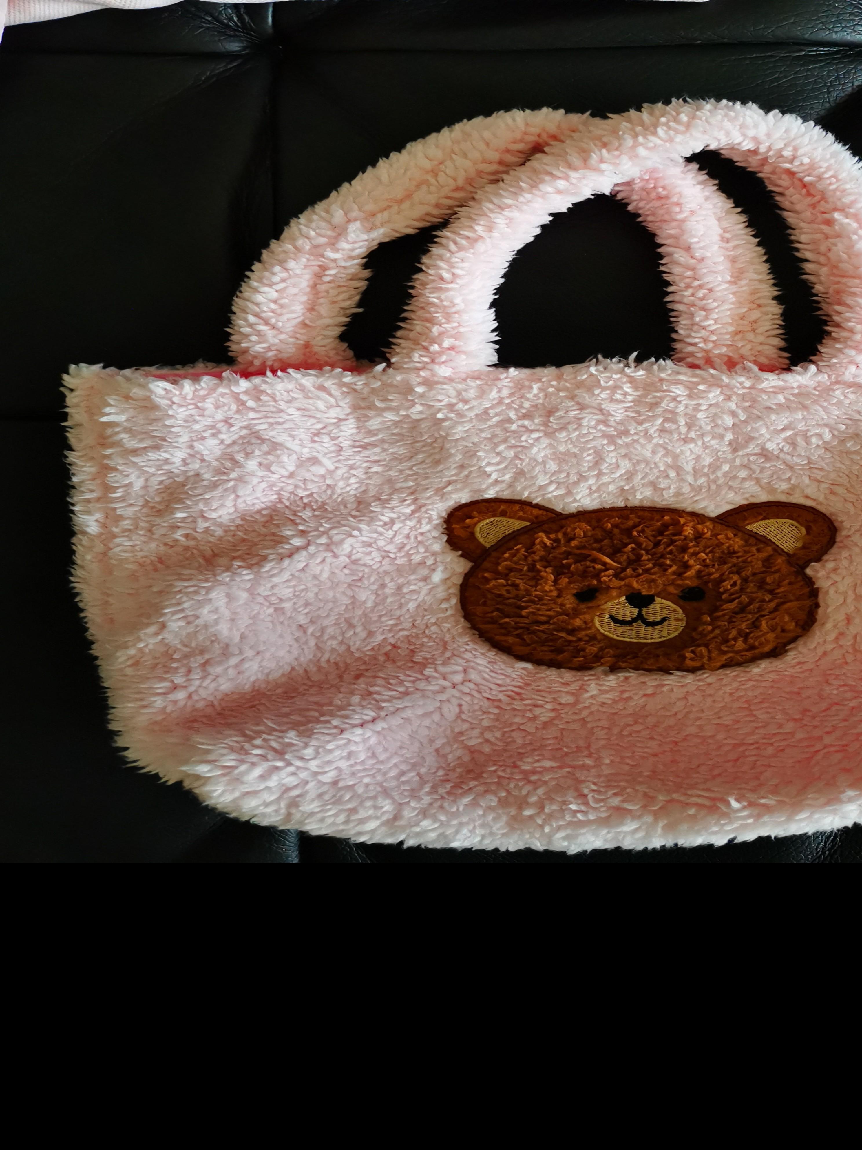 大創小熊的粉紅色毛毛便當袋 小袋子
