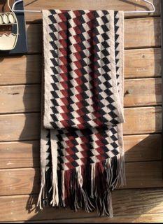 菱格紋抽鬚針織圍巾 (卡其、黑、紅)