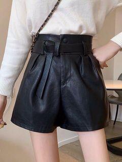 視覺質感超好 顯瘦腰 PU皮褲 附腰帶 可時髦 可可愛