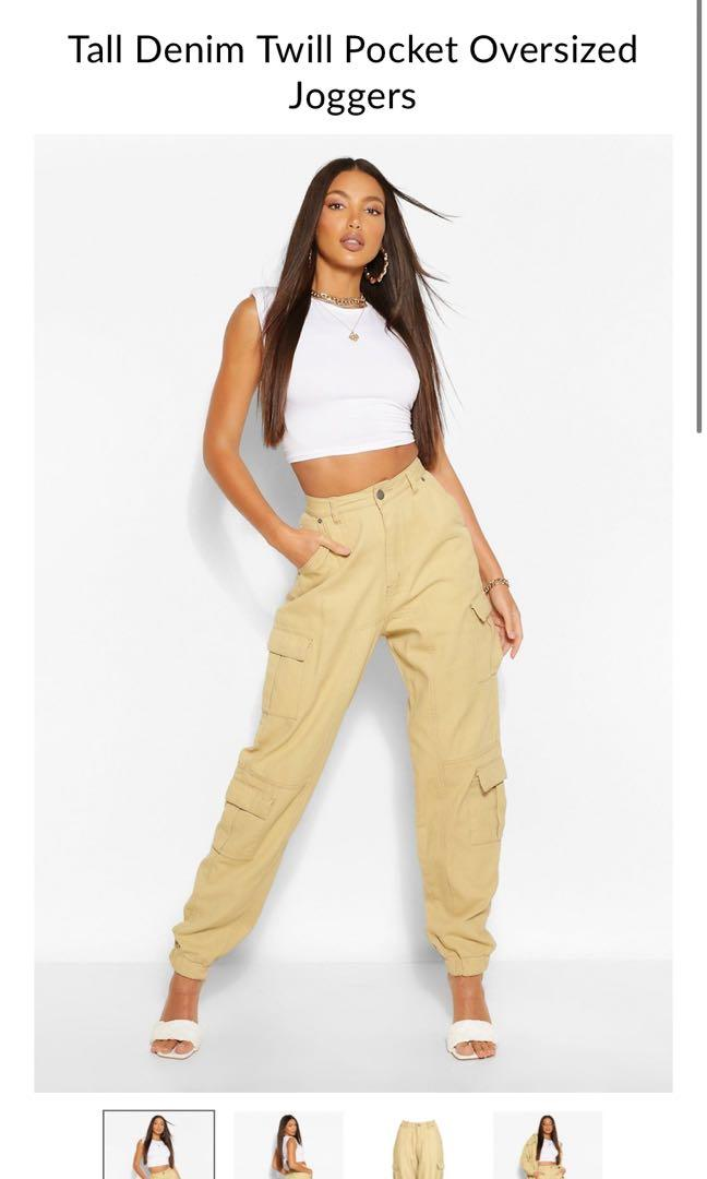 Boohoo Denim Twill Pocket Oversized Joggers