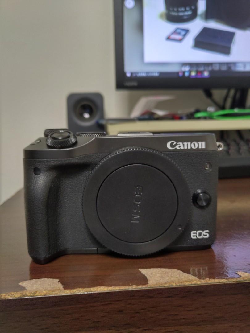 Canon M6+15-45鏡組+原廠電池x2+完整盒裝配件 極新無傷
