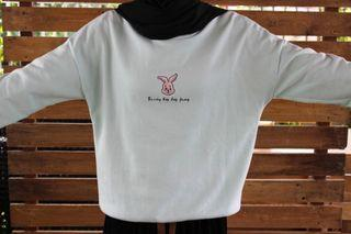 Crewneck Sweater Bunny Cyan Thrift Kelinci
