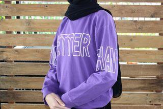 Crewneck Sweater Ungu Thrift
