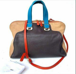 FENDI calskin large colorblock chameleon Tote biscotto  VGC with DB  and longstrap, size  38 x 30cm