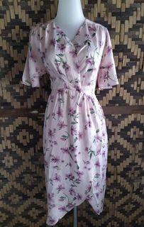 Flower Pink Midi Dress (bs busui)