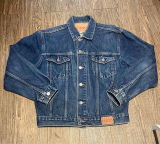 老品GUESS 短版丹寧夾克 vintage  寬版 高磅數 墨西哥制 男女都適合