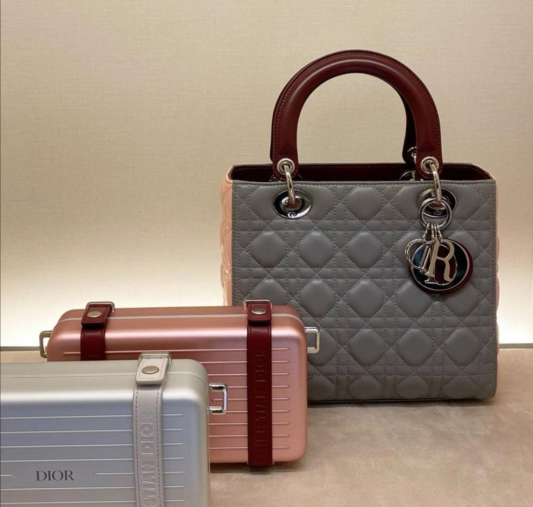 Lady Dior Medium Gray, Pink, Maroon Calfskin