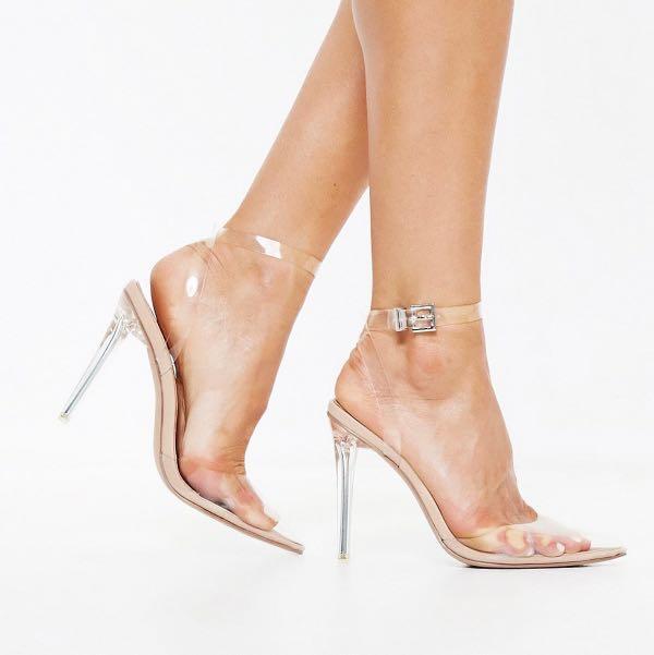 MISSGUIDED x STASSIE clear heels