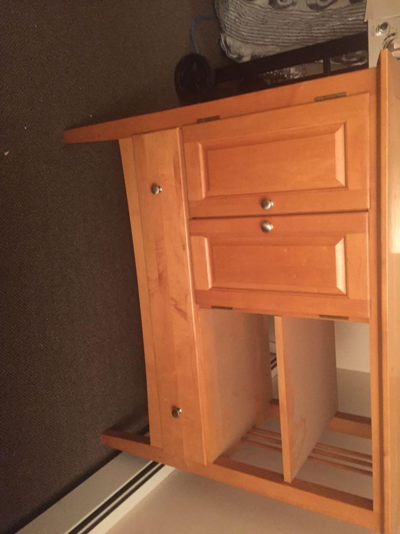 Sandal Wood Vanity Cupboards And a Bottom Drawer
