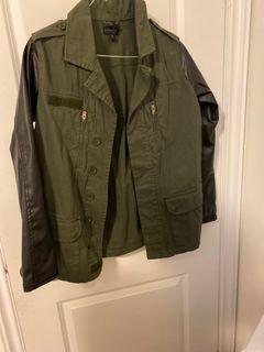 Topshop kaki jacket leather sleeves