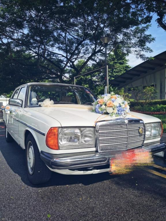 Wedding Bridal Car Vintage Mercedes Benz 200 White