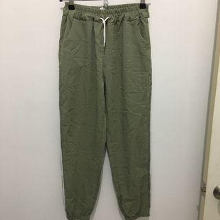 僅下試穿水棉麻淺軍綠色鬆緊長褲
