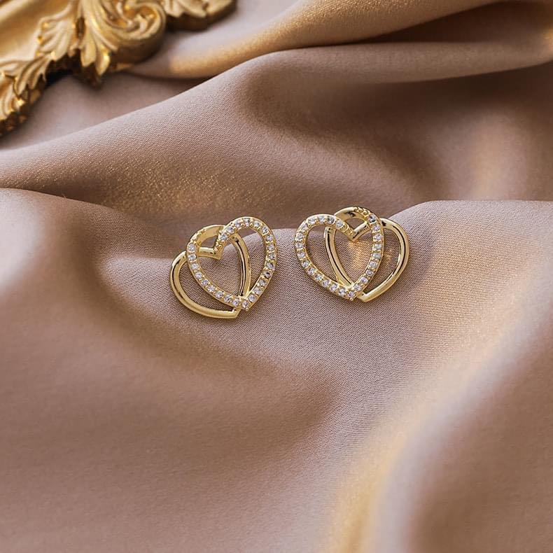 許願雙層愛心金屬水鑽雙心耳環