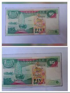 🐆豹子号🐆 & lucky s/n. Boat series $5 note, lot of 2pcs.