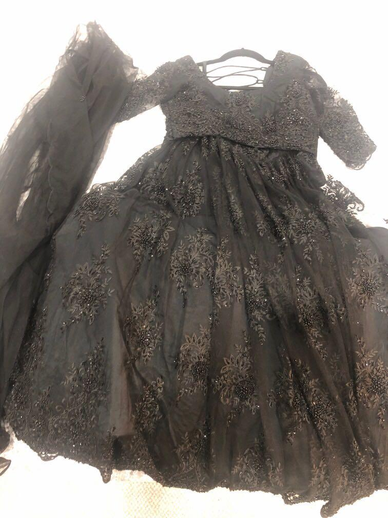 All black lace lengha