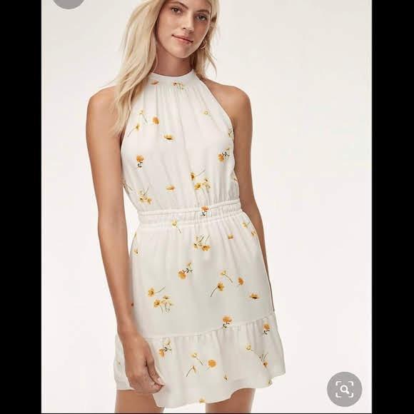 Aritzia Wilfred Effet White Floral Mini Dress