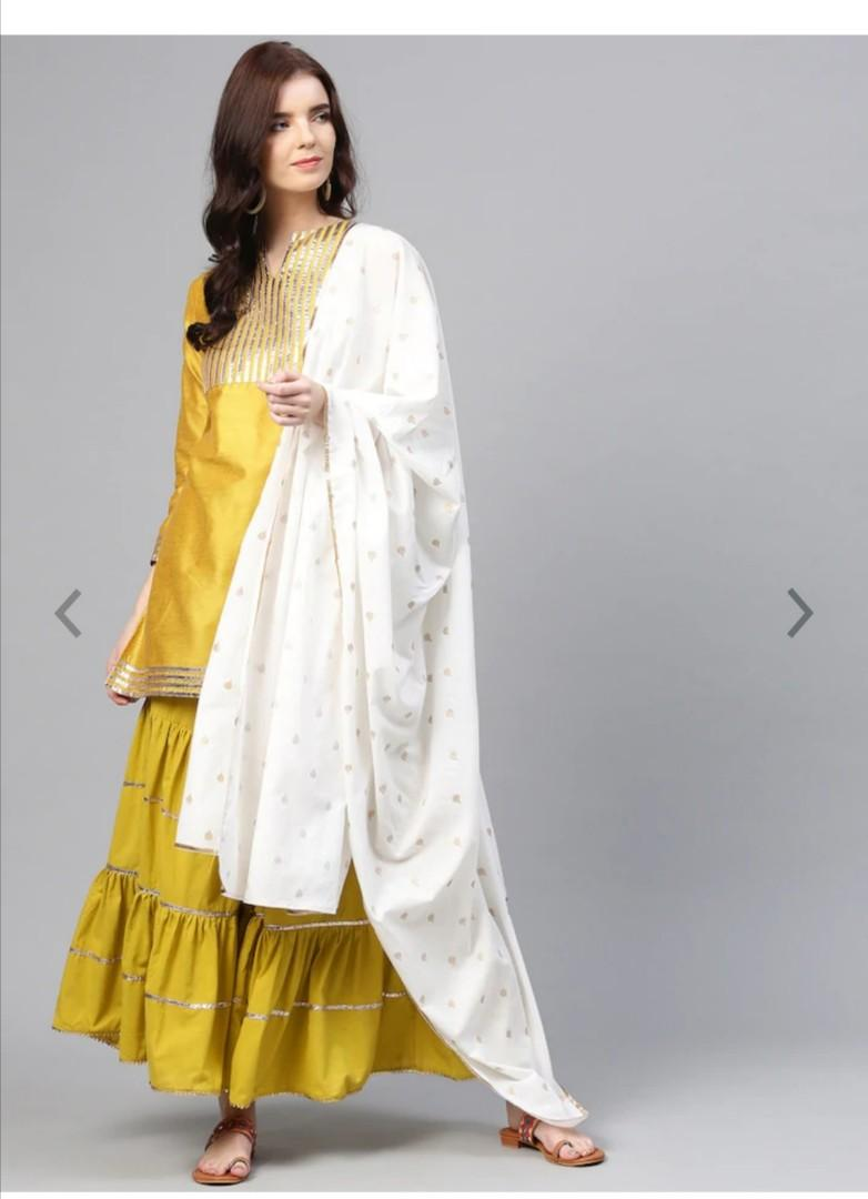 Bhama Couture Women Mustard Yellow Striped Kurta with Sharara, Product Code: 11414668