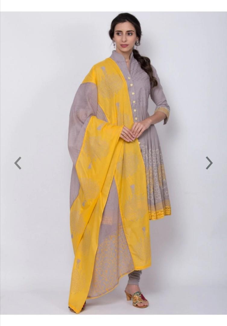 Biba Women Grey & Yellow Printed Kurta with Churidar & Dupatta, Product Code: 12280784