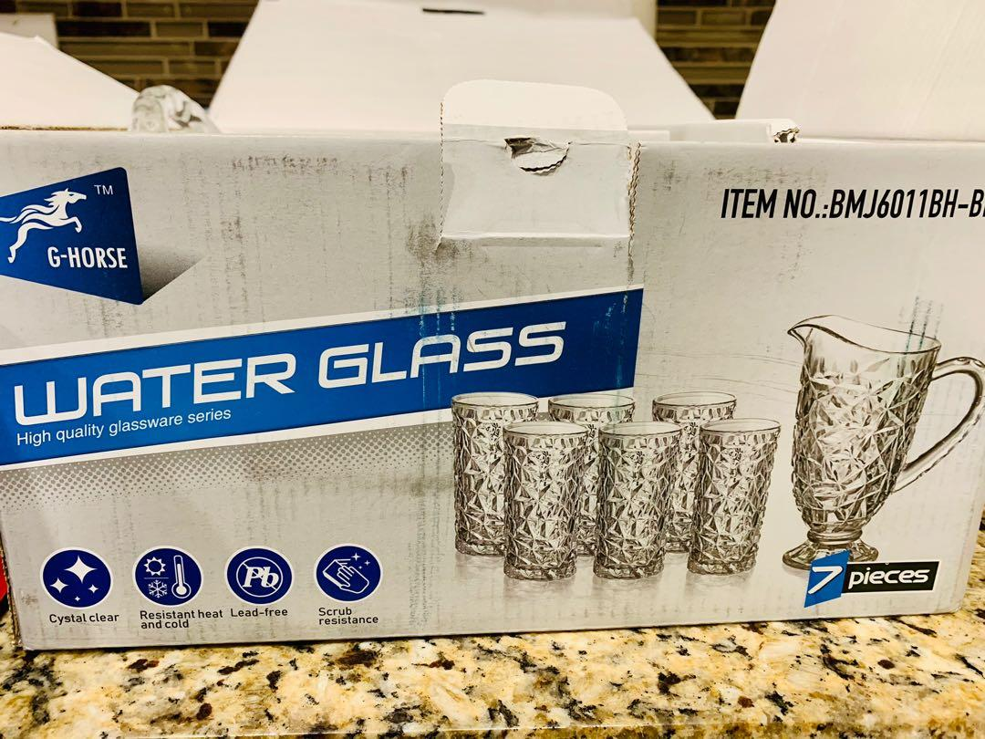 Brand new G-HORSE 7 piece water crystal glass set