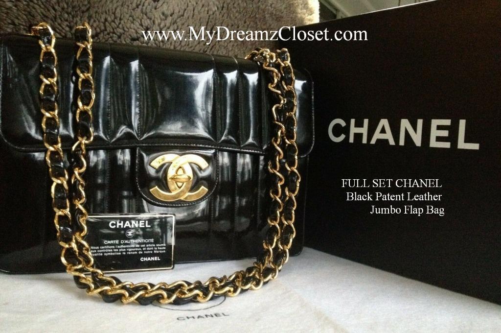 FULL SET CHANEL Black Patent Leather Jumbo Flap Bag