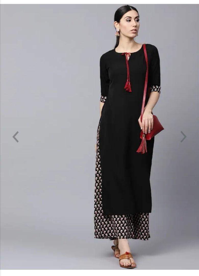 GERUA Women Black & Brown Solid Kurta with Palazzos, Product Code: 5452042
