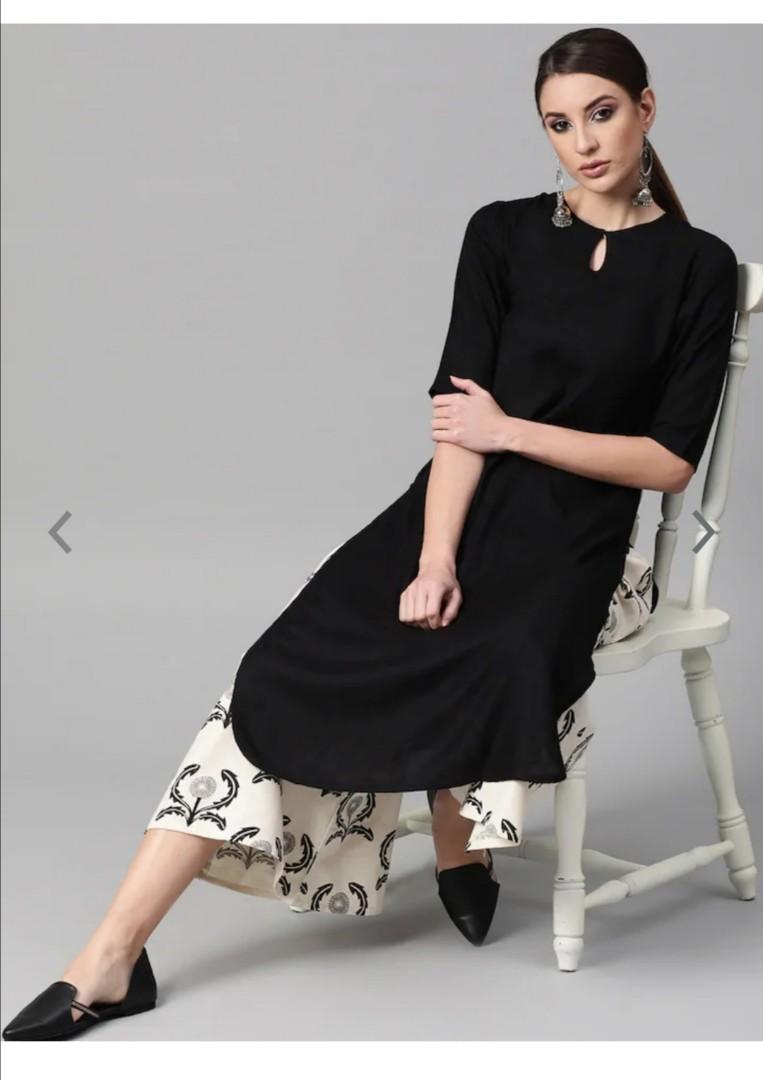 GERUA Women Black & Off-White Solid Kurta with Palazzos, Product Code: 11260756
