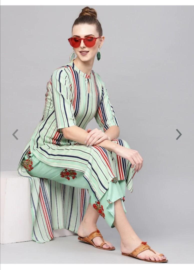 GERUA Women Sea Green & Blue Striped Kurta with Palazzos, Product Code: 10520922