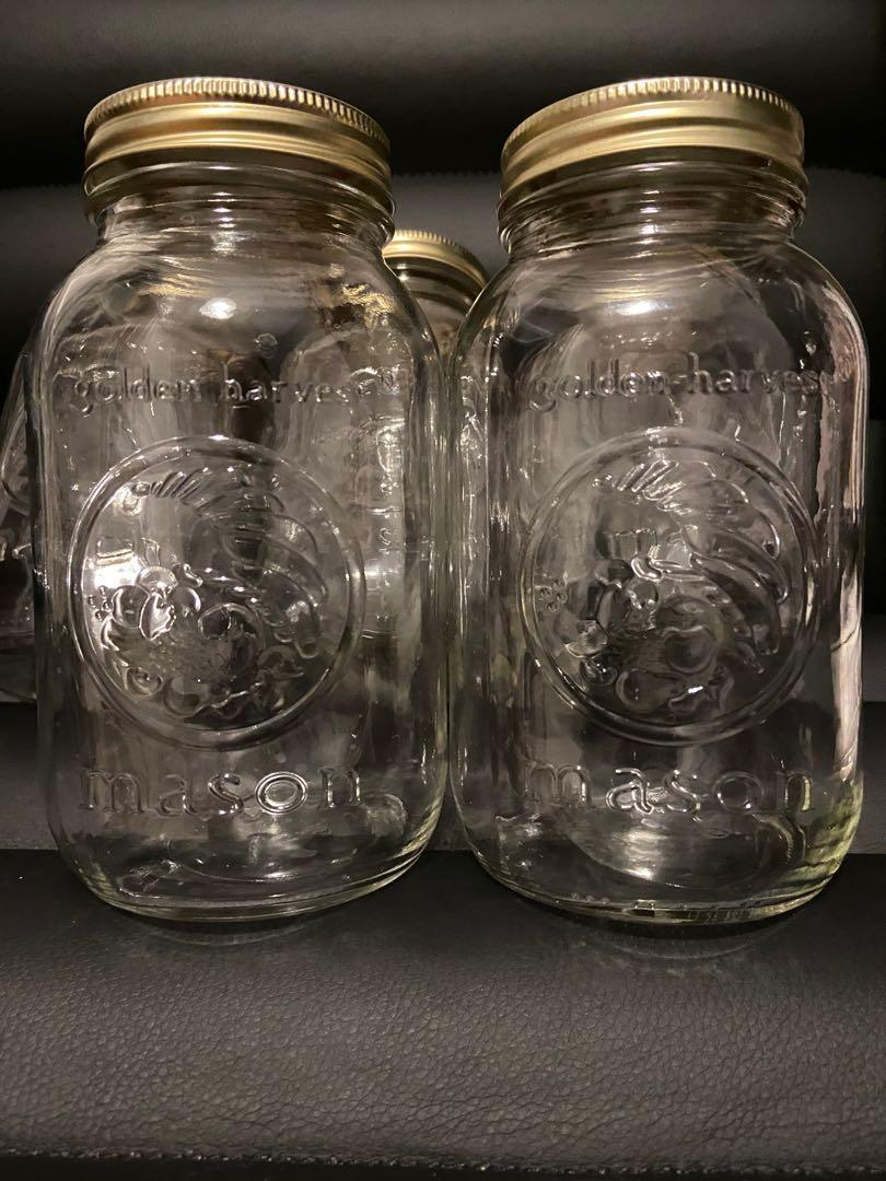 Golden Harvest 1L Mason Jars (set of 5)