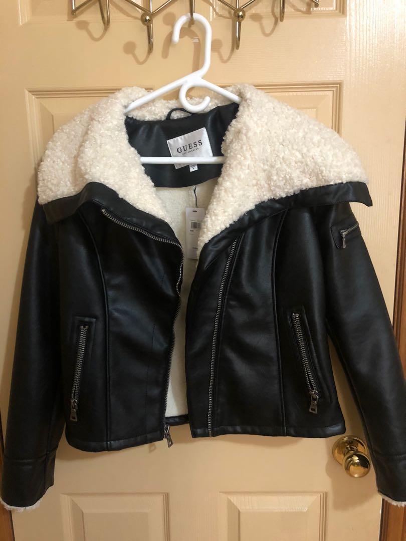 GUESS women's faux leather wool coat