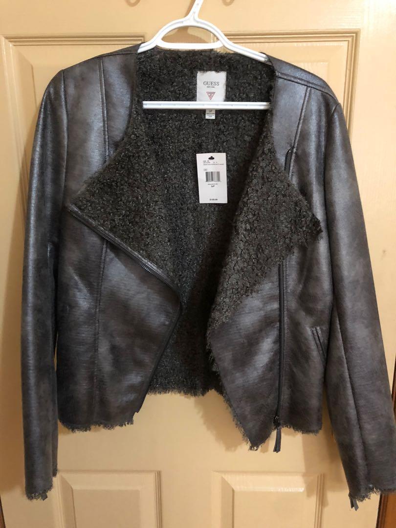 GUESS women's faux suede moto jacket