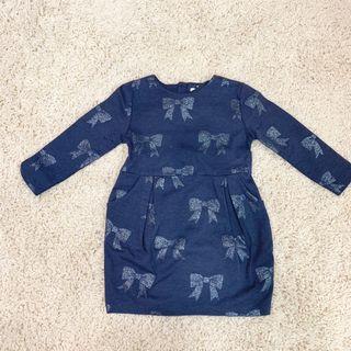 H&M深藍色亮粉蝴蝶結🎀 腰身款 90cm