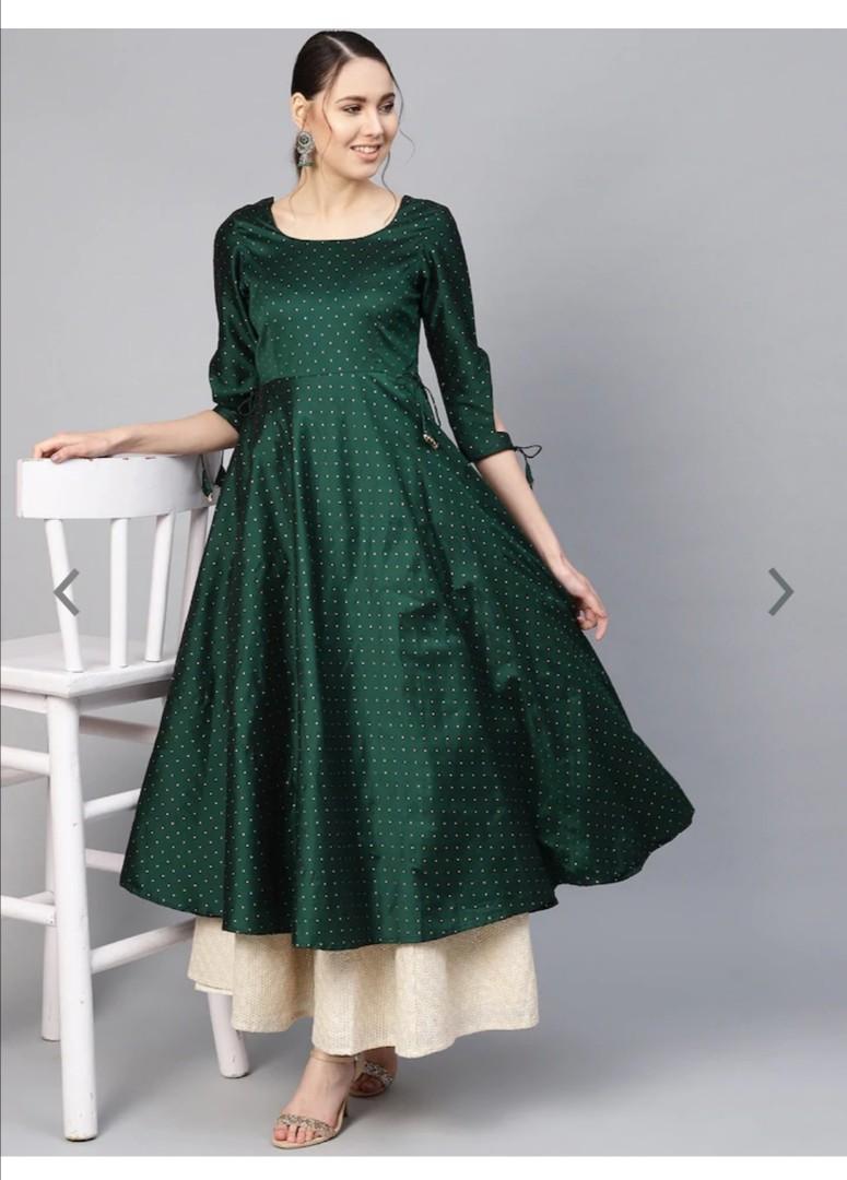 Inddus Dark Green Zari Weaved Anarkali Kurta, Product Code: 9539315