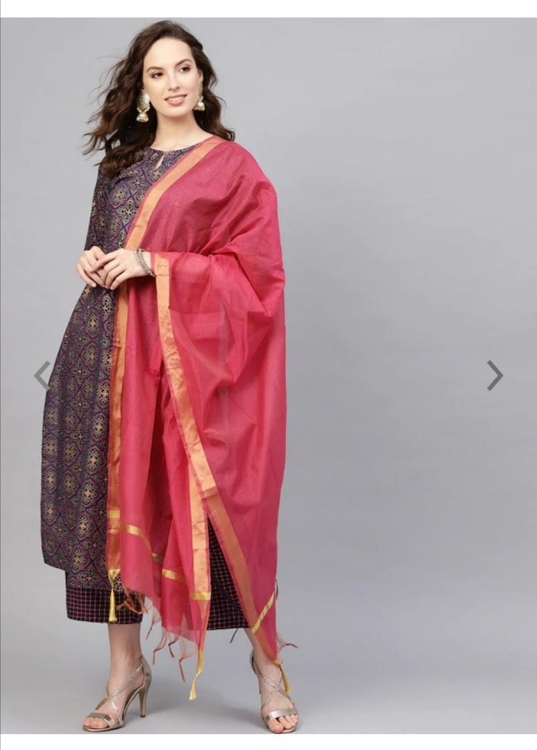 Indo Era Midnight Blue Foil Print Persian Mandala Pure Cotton Kurta Set, Product Code: 10779494