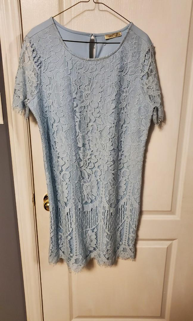 Party dress - sky blue and lace